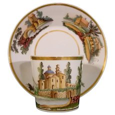 Biedermeier Period German Cup and Saucer Decorated with Landscapes c1820.