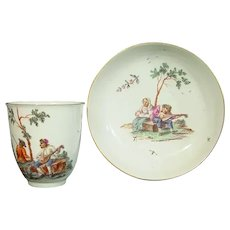 Hochst Cup & Saucer with Musicians in Landscapes C.1770.