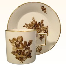 Antique German Furstenberg Coffee Can and Saucer With Brown Flower Bouquets c.1800.