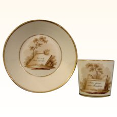German Gotha Antique Porcelain Cup and Saucer with a Dedication to Friendship c.1820.