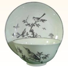Rare Worcester Teabowl and Saucer Printed in Black with Birds C.1760.