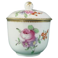 Rue Thiroux Sugar Bowl c.1780 Decorated with Flowers, Vieux Paris 18th Century Antique.