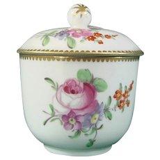 Rue Thiroux Sugar Bowl c.1780 Decorated with Flowers, Vieux Paris 18th Century Antique.