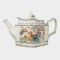 Pearlware Teapot with Chinoiseries Prints and Swan Finial, C.1805.