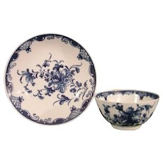 Lowestoft Mansfield Pattern Teabowl and Saucer C1770