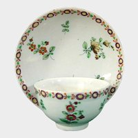 18th Century Cozzi Teabowl & Saucer with a Flower Border and Flower Sprigs