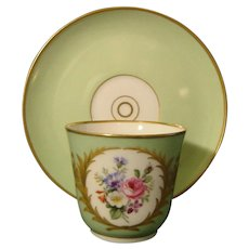 19th Century KPM Berlin Green-Ground Cup and Saucer with Flower Bouquet.