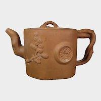 Antique Yixing Teapot of Zisha Clay 19thc Molded Pine & Bat, Bamboo Seal Mark