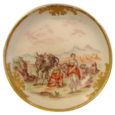Pair of Meissen 18th-Century Hausmalerei Saucers by F.F. Mayer c.1745.