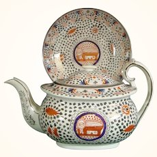 English Silver Luster Teapot and Plate C1810