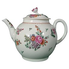 Worcester Teapot with Colorful Bouquets C1775.