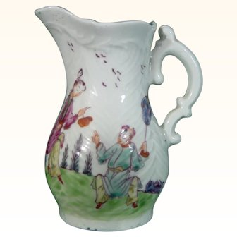 Early Dr. Wall Worcester Feather-Molded Cream Jug c.1755