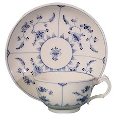 Tournai 18thc. Cup and Saucer Decorated in Blue with the Forget-Me-Not Pattern (Immortelle).