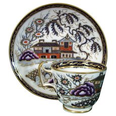 New Hall Cup and Saucer in Pattern 1541, a Chinese House with Bridge c.1805.