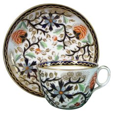 New Hall Cup and Saucer in Pattern 1085 with Flowers Like Dianthus c.1820.