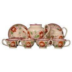 Antique Staffordshire Pearlware Pink Luster Miniature Tea Set Service c.1810.