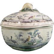 Italian 18thc Tin-Glazed Faience or Majolica Sugar Bowl Decorated with Birds and Trees.