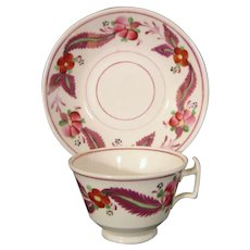Colorful English Staffordshire Bone China Cup and Saucer c.1825