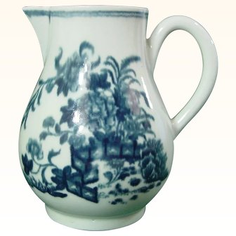Antique Worcester Milk Jug or Creamer with the Fence Pattern c.1765.