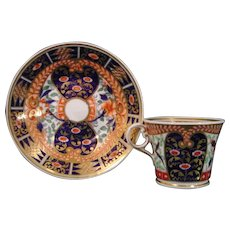 Chamberlain Worcester Coffee Cup and Saucer in a Bold Imari Style Pattern c.1830.