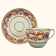 """English Cup & Saucer Marked with an """"H"""" C.1795."""