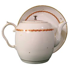 Antique and Rare Bristol 18th Century Porcelain Teapot and Dish in the Pattern used for the Pitt Service c.1775.