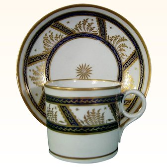 New Hall Coffee Cup and Saucer in Pattern 583 c.1790
