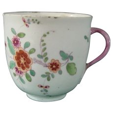 Antique German Frankenthal Porcelain Coffee Cup c.1755-60 with Kakiemon Decoration and Branch Handle.