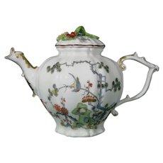Early Meissen Octagonal-Lobed Porcelain Teapot, C.1735