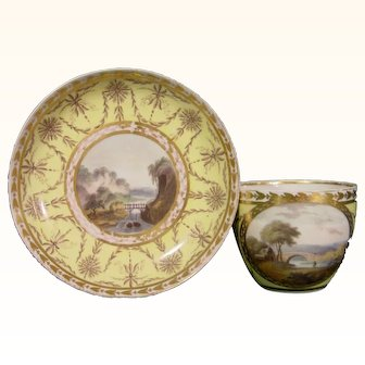 Pinxton Yellow Ground Cup and Saucer with Landscape Panels C.1805