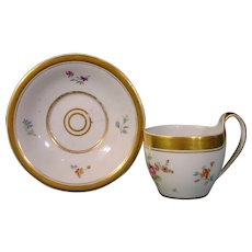 Antique German Porcelain, Furstenberg Empire Style Cup and Saucer c.1810-20.