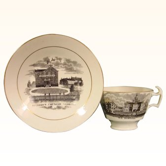 American Views Staffordshire Cup and Saucer c.1835.
