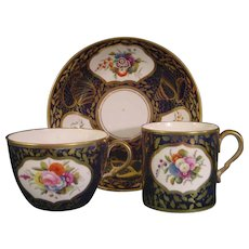 Antique Spode Pattern 1709 Trio with Flower Reserves C1820