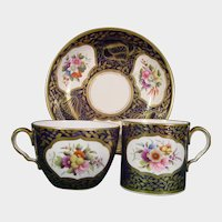 Early Spode Pattern 1709 Trio, As Is, Flower Bouquets C1820 Cup Saucer Antique British Porcelain.