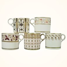 5 Minton Coffee Cups, Early 19th Century
