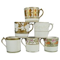 6 Mason Coffee Cups, Early 19th Century