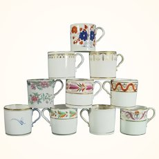 10 Spode Coffee Cups, Early 19th Century, Including Gilt