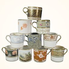 10 Spode Coffee Cups, Early 19th Century, Including Silver Luster