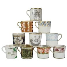 10 Spode Coffee Cups, Early 19th Century, Including Dollar Pattern