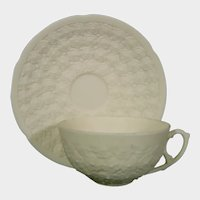 Victorian Cup & Saucer Molded with Dozens of Flowers C1870 19thc White Parian Biscuit
