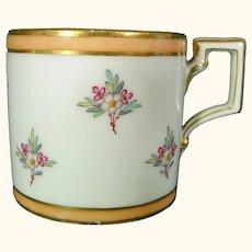 Vienna Biedermeier Coffee Cup Dated 1833 with Flower Sprigs Antique German Porcelain 19thc Scepter Mark