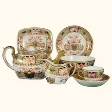 Early Spode Tea Set in Pattern 1495: Teapot, Stand, Creamer, Plates, Waste Bowl, Cups, Saucers C1810.