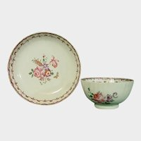 Chinese Export Fluted Teabowl & Saucer 18thc.