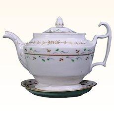 Coalport Antique Porcelain Teapot and Stand c.1825