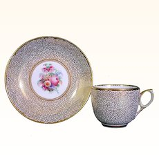 British Floral Cup and Saucer with Vermicelli Gilding C1810