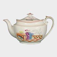 Machin Antique Porcelain Teapot in Chinoiseries Pattern 185, C1815.