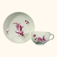 Hochst Cup and Saucer with Puce Flowers C1765.