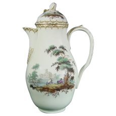 18thc. Copenhagen Coffee Pot, Landscape Decoration