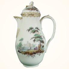 18thc. Copenhagen Coffee Pot, Landscape Decoration