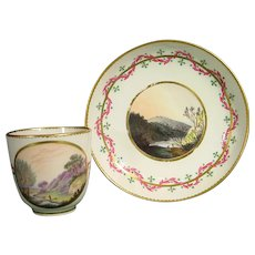 Zachariah Boreman Derby Cup and Saucer with Derbyshire Landscapes, Pattern 366, c.1785.
